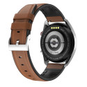 LUNIO SMART WATCH COLOR SILVER, BROWN LEATHER FANCY STRAP
