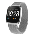 MARK-Silver Executive Smart Watch Metal Body, Color Screen, Continue Heart Rate Monitor, Milanese Steel Band