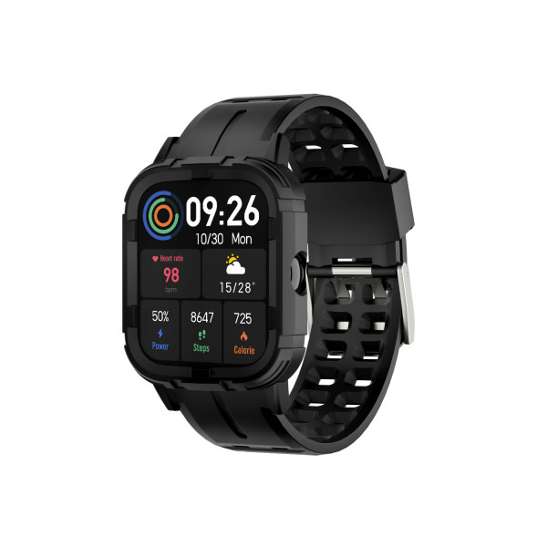 FLORAL SPORTS CALLING SMART WATCH COLOR BLACK WITH FREE SILICON SOTRAP